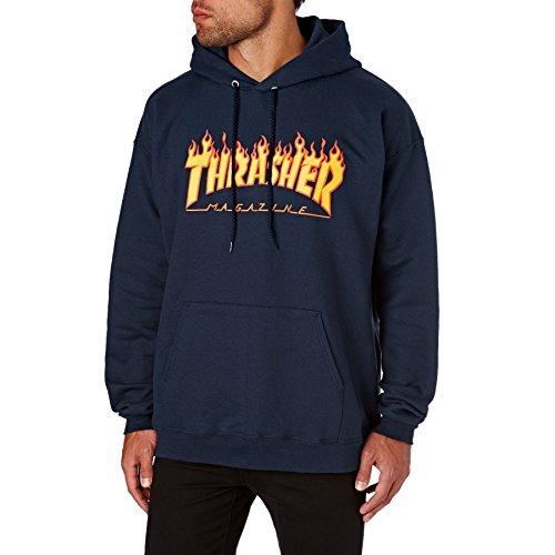 THRASHER Flame Logo – Maglietta da Uomo, Uomo, Felpa, 113102S/NY, Blu Navy, S