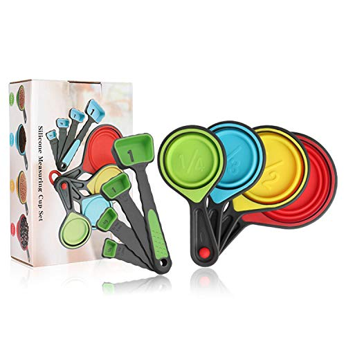 Measuring Cups and Spoons Set, 8 Piece Collapsible Measuring Cups, Dry Measuring Cups (green)