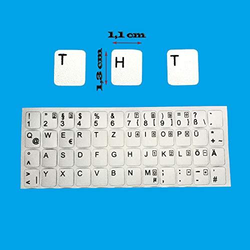 Kompatibel mit Notebook Asus DEUTSCHE Tastaturaufkleber- Silber MATT 48 Tasten 1,1 cm x 1,3 cm Tastatur Aufkleber Selbstkleben
