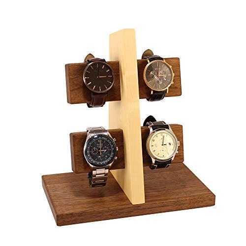 Wood Spot Uhrenständer für 4 Uhren, Uhrenhalter, Armbandhalter, für Männer, Echtholz,(Walnussholz-Ahornholz) Handgefertigt, Praktische Lösung für Solaruhren, Natur, Geschenke für Männer