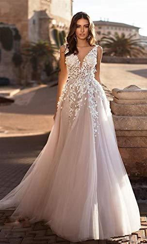 WANGMEILING Hochzeitskleid Eleganter V-Ausschnitt Brautkleid und Blumen-3D SpitzeApplique Strand-Hochzeit Chiffon Abendkleid Größe und Farbe hochzeitskleider für Damen