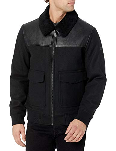DKNY Herren Mixed Media Wool Bomber Jacket with Sherpa Collar Jacke, schwarz, Large