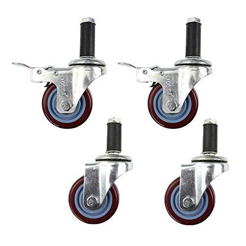 Muma - 4 ruedas giratorias de freno giratorias de 75 mm para muebles industriales, tornillos compuestos de tubo extendido y caster doble rodamiento – Carga 100 kg, Swivel+swivel Brake, 3 inch