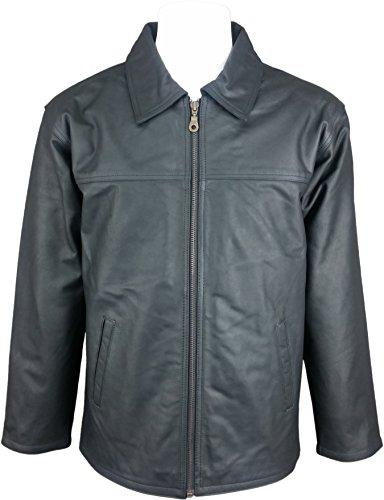 UNICORN Hombres Clásico abrigo - Real cuero Chaqueta - carboncillo Negro #HA...