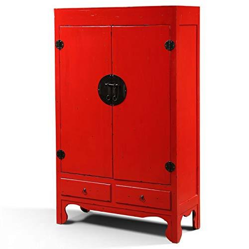 LEBENSwohnART Hochzeitsschrank Asia Rot ca. 105x175x45cm (BxHxT) China Schrank Kleiderschrank