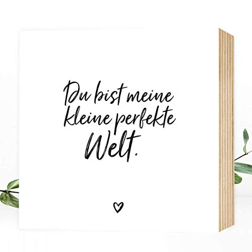 Wunderpixel® Holzbild Du, meine perfekte Welt 15x15x2cm zum Hinstellen/Aufhängen, echter Fotodruck mit Spruch auf Holz - schwarz-weißes Wand-Bild Aufsteller Dekoration Geschenk Liebeserklärung