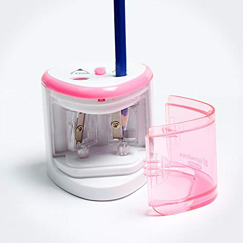 Supertool - Temperamatite elettrico automatico, a doppio foro, 70 x 70 x 75 mm, accessorio per bambini, uffici, uso professionale, colore: rosa