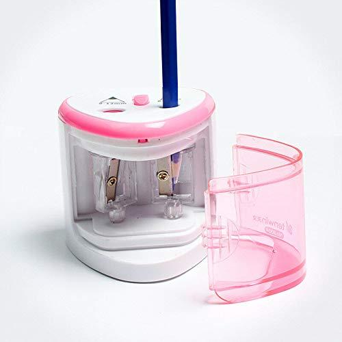 SUPERTOOL Sacapuntas eléctrico Sacapuntas automático doble agujero rosa estacionario para niños Oficina profesionales...
