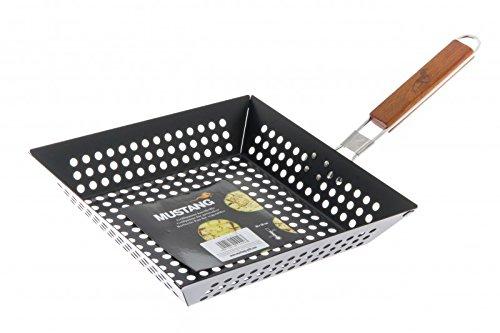 Mustang Grillpfanne | 28 x 28 cm | Viereckig | Klappbarer Holzgriff mit Logo | Gemüsepfanne | Grill Wok | Grill Pfanne | Antihaftbeschichtung