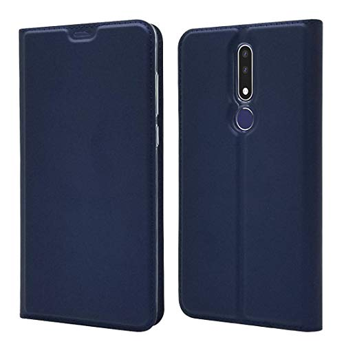 QIHANG Funda para Nokia 3.1 Plus, Slim Carcasa con Tapa TPU Interior Case Billetera Carcasa Libro de Cuero Ultra Slim Case para Nokia 3.1 Plus, con Cierre Magnético (Azul)