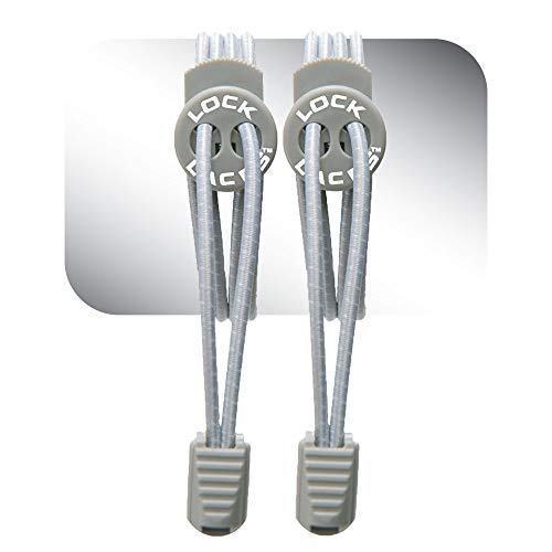 LOCK LACES (Elastic Shoelace and Fastening System) (Grey)
