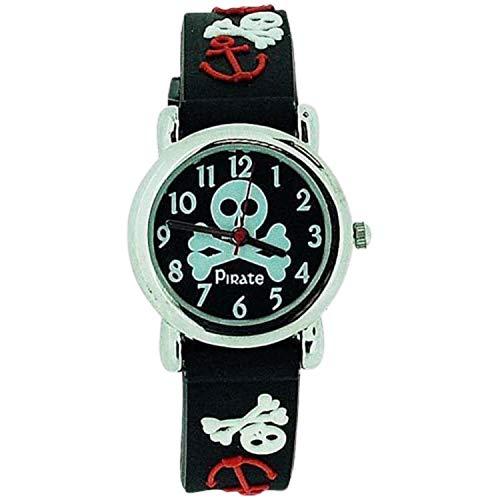 Citron Jungen Piratenlogo Uhr mit schw. Silikonband KID42