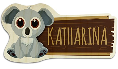 printplanet Türschild aus Holz mit Namen Katharina - Motiv Koala - Namensschild, Holzschild, Kinderzimmer-Schild