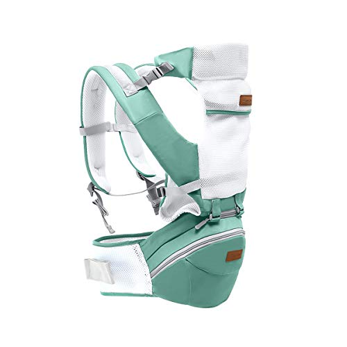 SONARIN 3 in 1 Multifunktions Hipseat Baby Carrier,Babytrage,Ergonomisch,100{83db7f4106838bf3178bc840b229999b5b21e7cf7e7dfa988c257576987055a5} Baumwolle, Breathable Mesh Backing,Easy Mom,100{83db7f4106838bf3178bc840b229999b5b21e7cf7e7dfa988c257576987055a5} GARANTIE und KOSTENLOSE LIEFERUNG, Ideal Geschenk(Grün)