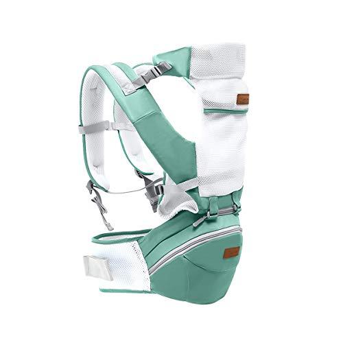 SONARIN 3 in 1 Multifunktions Hipseat Baby Carrier,Babytrage,Ergonomisch,100{f25db5c3f84ebdbf323d9c1e3c75492bc10dc7d7014e311ba4b7b09028b9aef4} Baumwolle, Breathable Mesh Backing,Easy Mom,100{f25db5c3f84ebdbf323d9c1e3c75492bc10dc7d7014e311ba4b7b09028b9aef4} GARANTIE und KOSTENLOSE LIEFERUNG, Ideal Geschenk(Grün)