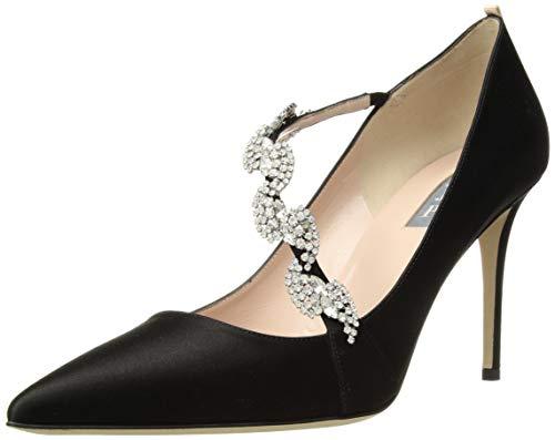 SJP by Sarah Jessica Parker Women's Noelle Pointed Toe Crystal Embellished Dress Pump, Black Satin, 39 Medium EU (8.5 US)
