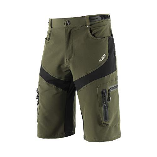 ARSUXEO Hombres Pantalones Cortos de Ciclista Shorts Casuales con Bolsillo con Cremallera 1806 Verde M