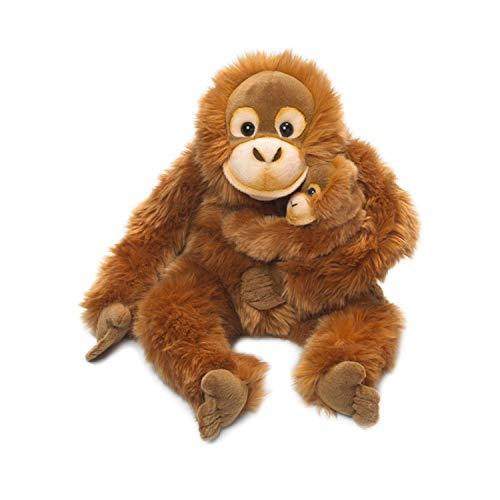 WWF WWF16112 Plüsch Orang-Utan Mutter mit Baby, realistisch gestaltetes Plüschtier, ca. 25 cm groß und wunderbar weich, braun