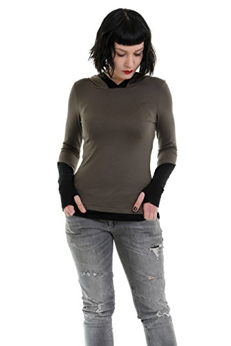 Hoodie Shirt Damen Kapuzenshirt Frauen Shirt mit Kapuze Daumenloch von 3 Elfen Gothic Goa Alternative Kleidung Langarm M Oliv