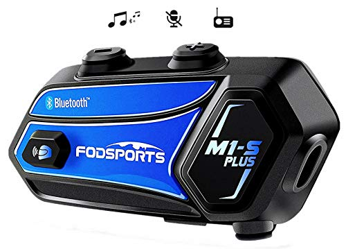 Bluetooth Motorcycle Headset FODSPORTS M1-S Plus Stereo Music Share/Mute Microphone/Built in FM 8 Riders Motorcycle Intercom Helmet Communication System Voice Dial/ 900MAH/ Boom & Soft Mic (1 Blue)