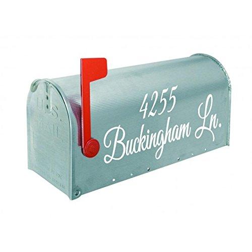 "VWAQ Mailbox Address Decal Set of 2 - Insert Street Name & Address Personalized Decals CMB7 (White, 19""W X 6.5""H)"
