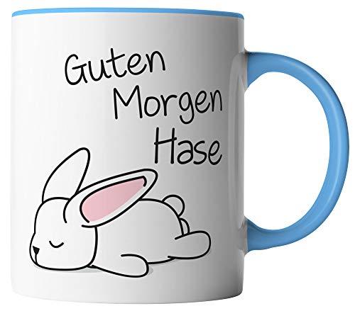 vanVerden Tasse - Guten Morgen Hase - beidseitig Bedruckt - Geschenk Idee Valentinstag Liebe Love mit Spruch, Tassenfarbe:Weiß/Blau