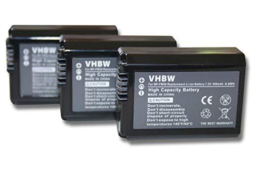 vhbw 3x batteria compatibile con Sony Alpha NEX-3A, NEX-3D, NEX-3DW, NEX-3K fotocamera digitale DSLR (950mAh, 7,2V, Li-Ion) con infochip