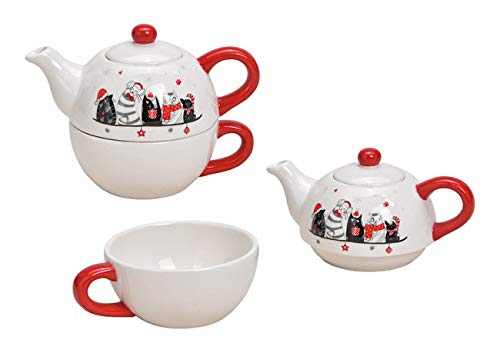 Tea for One Set mit Weihnachtskatzen Dekor (Kanne & Tasse)