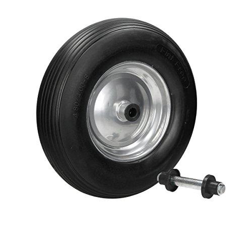 ECD Germany Schubkarrenrad aus pannensicherem PU Vollgummi mit Achse - Reifen mit Stahlfelge - 4.80/4.00-8 - Durchmesser 390 mm - Schwarz - Ersatzrad Gummirad Schubkarren Rad