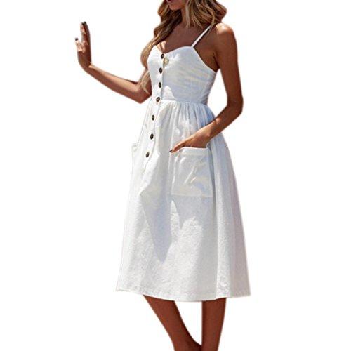 VEMOW Elegante Damen Sommerkleider Floral Bohemian Spaghetti Strap Tasten Unten Solid Off Schulter Sleeveless Princess Swing Midi Kleid mit Taschen(Weiß, 48 DE/L CN)