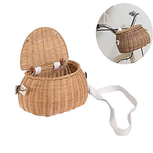 chen Children Bicycle Rattan Basket, Childrens Shoulder Diagonal Bag Hand-woven Bag Small Back Basket Front Handlebar Bike Basket with Lid and Shoulder Strap for Girls