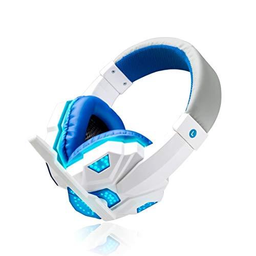 KYHS Casque de jeu monté sur la tête pour caisson de basses pour ordinateurs portables de bureau Réduction du bruit filaire (blanc+bleu)
