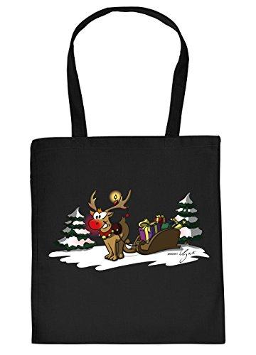 Geschenktasche Weihnachten Baumwolltasche Rentier Schlitten : schwarz Rudolph The rednosed Reindeer_Tasche_01_YG03904 - Weihnachtstasche mit Urkunde Farbe: schwarz