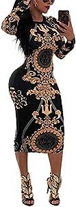 Dress for Women Elegant Long Sleeve - Stretchy African Floral Bodycon Midi Dress