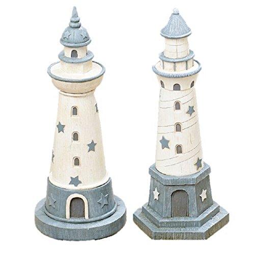 Geschenkestadl 2er Set Spardose Leuchtturm 25cm hoch 2-Fach Sortiert Urlaub See Meer Sparbüchse