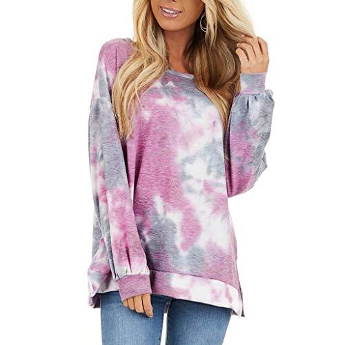 EUCoo Fashion - Maglione da donna, a maniche lunghe, con scollo a O, stile casual, elegante Viola XL
