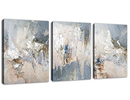 """Abstract Canvas Wall Art Modern Abstract Painting Prints Blue Grey Canvas Picture Artwork Contemporary Wall Art Bedroom Living Room Bathroom Office Decoration Framed Ready to Hang 12"""" x 16"""" x 3 Pieces"""