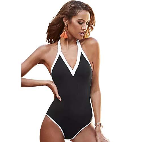 SEDEX Costume Intero da Donna Imbottito Halter V Scollo Elegant Costume da Bagno Slim Sexy Moda Senza Maniche Costume da Bagno Mare da Spiaggia