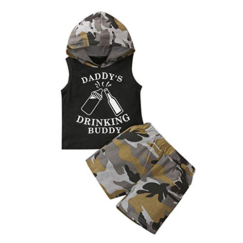 Toddler Baby Boy Summer Clothes Sleeveless Hooded Daddy's Drinking Buddy...