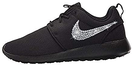 9eed365793db8 Women s NIKE Roshe One Casual Shoes with Swarovski All BLACK Bedazzled Kicks