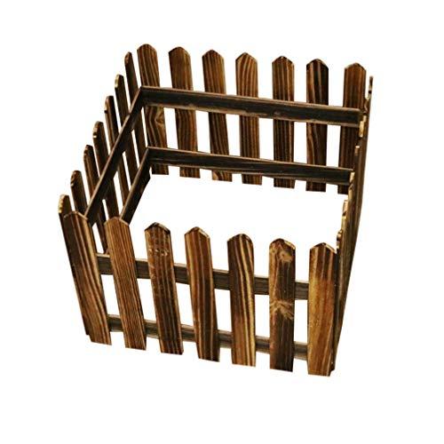 Hemoton 1. 2 M Steccato per Albero di Natale Mini Casa Vaso per Piante Staccionata in Legno Fata Natalizia Festa in Giardino Decorazione Domestica (Carbonizzata)