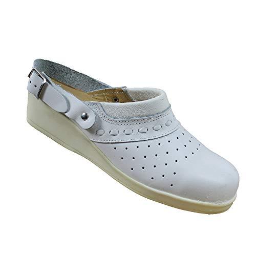 Jallatte SBEA SRC Sicherheitsschuhe Arbeitsschuhe Kochschuhe Laborschuhe Sandale mit Absatz Weiss B-Ware, Größe:35 EU