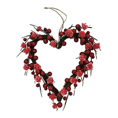 Artificial Heart Shaped Wreath Valentines Berry Wreath With Lights 20 Leds Battery Operated For Home Front Door Wedding Party Anniversary Decor