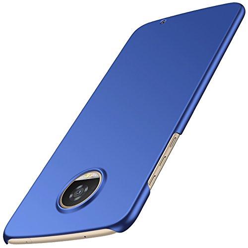 anccer Moto Z2 Play Hülle, [Serie Matte] Elastische Schockabsorption und Ultra Thin Design (Glattes Blau)