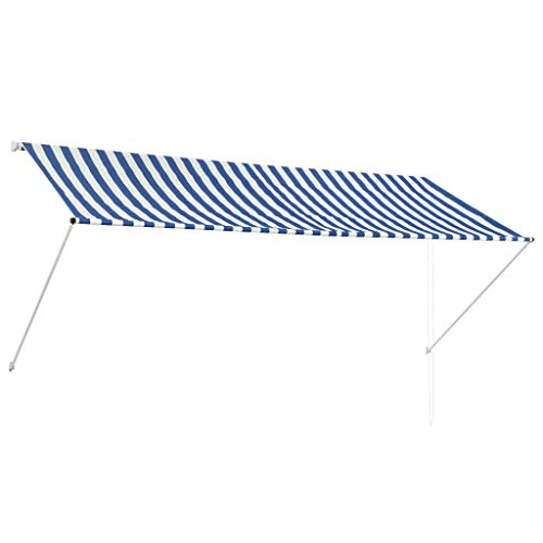 vidaXL 143749 luifel intrekbaar 300x150cm blauw wit klem luifel zonwering balkon, weefsel, één maat