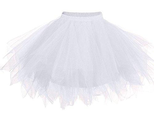 MsJune Women's 1950s Vintage Petticoats Crinolines Bubble Tutu Dance Half Slip Skirt White-S/M