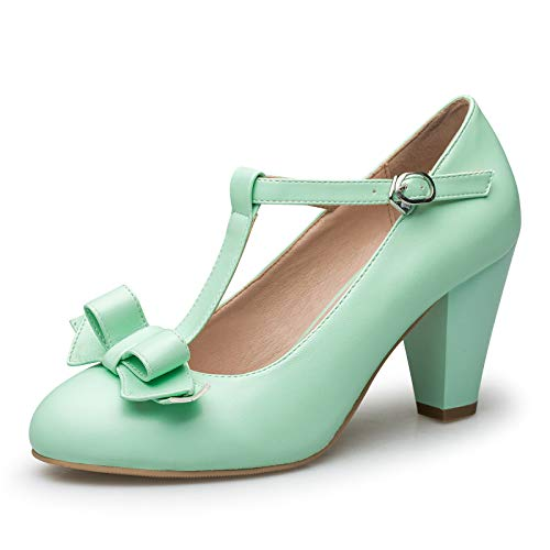 Susanny Women's Chic Sweet Round Toe T-Strap Bows Adorable Buckle High Cone Heel Mary Janes Dress Green Pumps 7.5 B (M) US