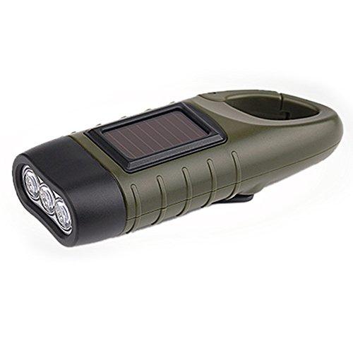 LED Hand kurbel Energieerzeugungs Taschenlampe, Solar wiederaufladbare Fackel-Lampe, Tragbare Karabiner Dynamo Taschenlampe mit Nickel Wasserstoff Batterie für Outdoor Kampierende Wandern