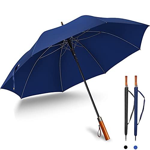 長傘 メンズ 绅士傘 [梅雨対策 台風対応] 収納ポーチ付き 木製ハンドル ワンタッチ開き 改良耐風構造 撥水 【2021年強化版】 高強度グラスファイバー 滑り止め 耐摩耗性とお手入れが簡単 軽量 大型 138cm (ブルー)