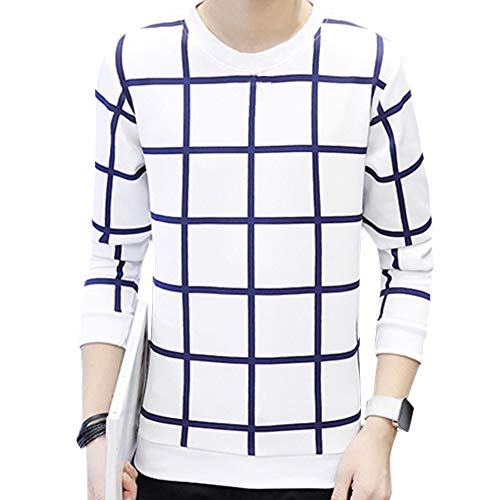 BOZEVON Homme Mode Col Rond Sweat-Shirt - Automne Hiver Manches Longues Pullover Tops T-Shirt Hommes, Blanc, EU L=Tag XL